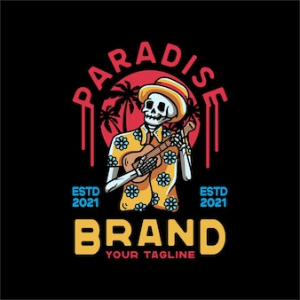 Paradise skull and guitar vintage style