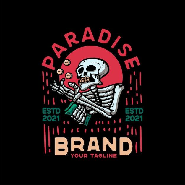 Paradise skull and money vintage style