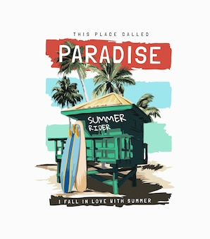 Paradise slogan with beach hut and surfboards on colorful stripe background