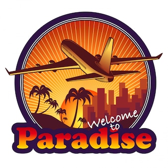 Paradise travel label with airplane on sunset background