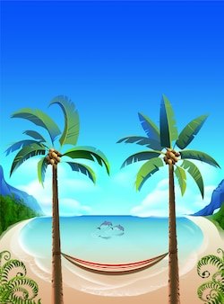 Рай тропический залив пляж с пальмой. гамак для отдыха и дельфинов в синем море