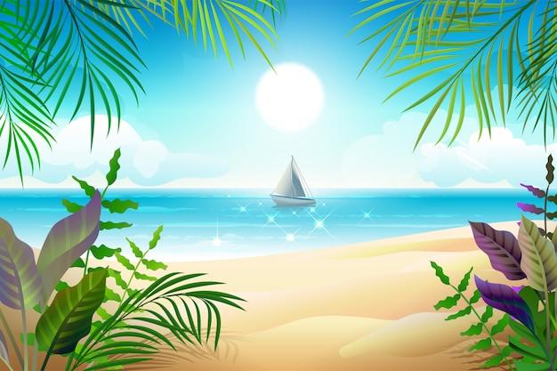 Рай тропический пляж пейзаж. береговая линия, пальмовые листья, синее море и небо