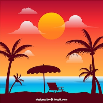 Paradise tropical beach with lovely sunset