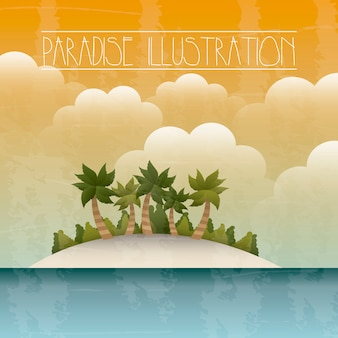 Paradise with island and sea background vector illustration