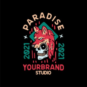 Paradise wolf skull vintage style