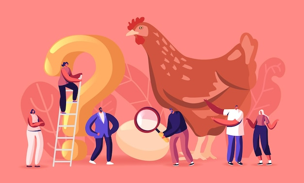 Paradox which came first chicken or egg concept. causality dilemma, chicken-and-egg metaphoric adjective. tiny male and female characters at huge hen with question. cartoon people vector illustration