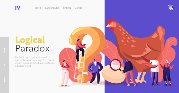 Paradox which came first chicken or egg landing page template. chicken-and-egg metaphoric adjective. tiny male and female characters at huge hen with question. cartoon people vector illustration