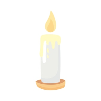 Paraffin fire candle isolated icon