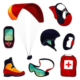 Paraglide equipment sport tools set vector icons