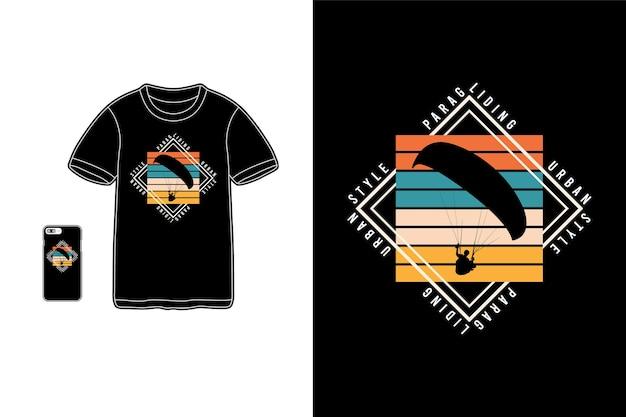 Paragliding tshirt merchandise silhouette mockup