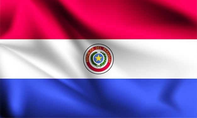 Paraguay flag blowing in the wind. part of a series. paraguay waving flag.