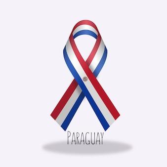 Paraguay flag ribbon design