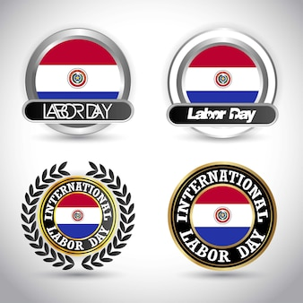 Paraguay flag with labour day design vector