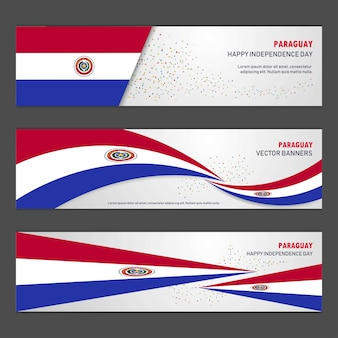 Paraguay independence day banner set