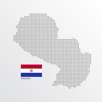 Paraguay map design with flag and light background vector