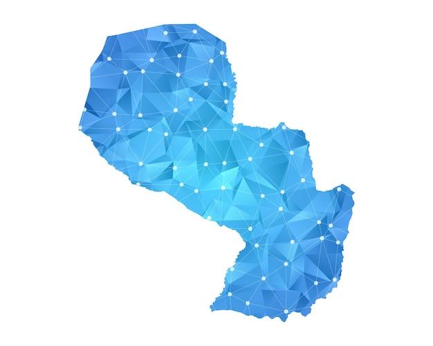 パラグアイの地図の線の点は多角形の抽象的な幾何学的です。