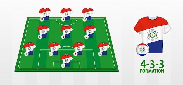 サッカー場でのパラグアイ代表サッカーチームの結成。