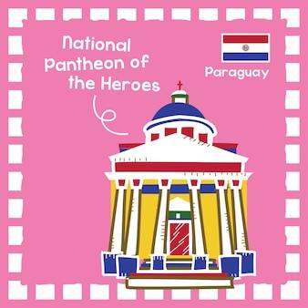 파라과이 국립 판테온 오브 히어로즈 랜드마크 일러스트레이션과 귀여운 우표 디자인