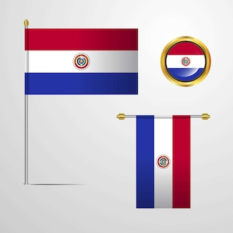 Paraguay waving flag design with badge vector