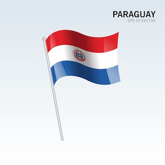 Paraguay waving flag isolated on gray background
