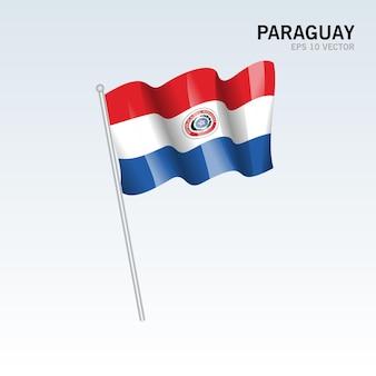 파라과이 회색에 고립 된 깃발을 흔들며