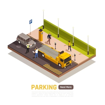 Parallel parking next to curb isometric element with wrong parked vehicle driver dispute with policeman