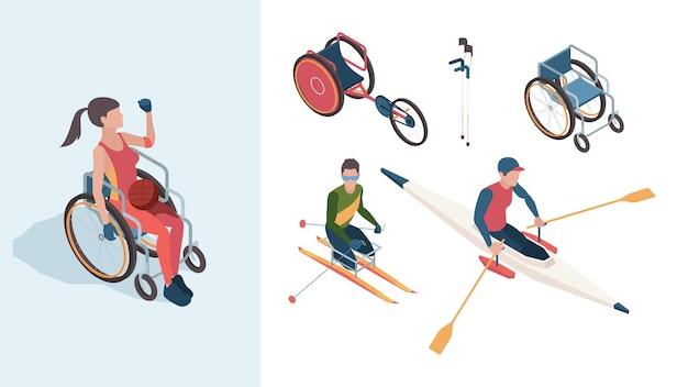 패럴림픽 캐릭터. 장애인 운동선수는 여름 올림픽 벡터 아이소메트릭 사람들에서 남성과 여성입니다. 공 일러스트와 함께 휠체어 장애인 캐릭터