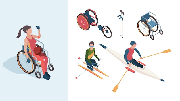 Paralympic characters. disabled sportsmen athletes male and female in summer olympic games vector isometric people. character in wheelchair handicapped with ball illustration