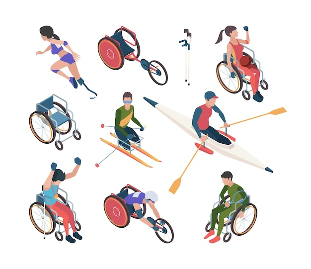 Paralympic games. athletic disability persons in olympic sport celebration vector isometric characters. sport in wheelchair, competition for disabled and paralympic illustration