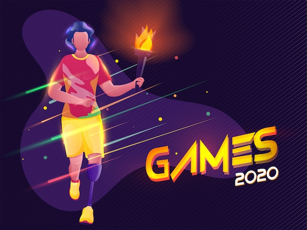 Paralympic young boy holding flaming torch with lights effect on purple strip pattern background for games 2020.
