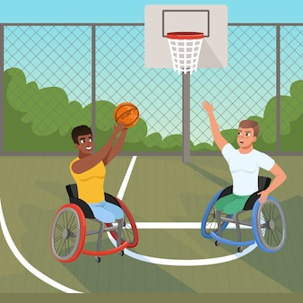 Paralympics sportsmen on wheelchairs playing with ball