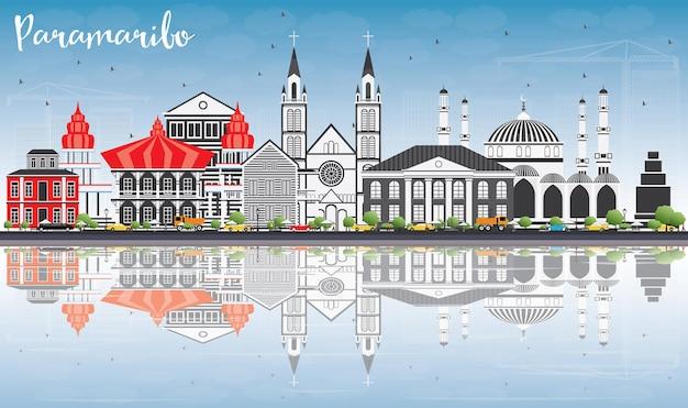 灰色の建物、青い空、反射のあるパラマリボのスカイライン。ベクトルイラスト。近代建築とビジネス旅行と観光の概念。プレゼンテーションバナープラカードとwebサイトの画像。