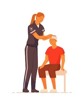 白い背景の上の救急医療と男性患者の頭部外傷
