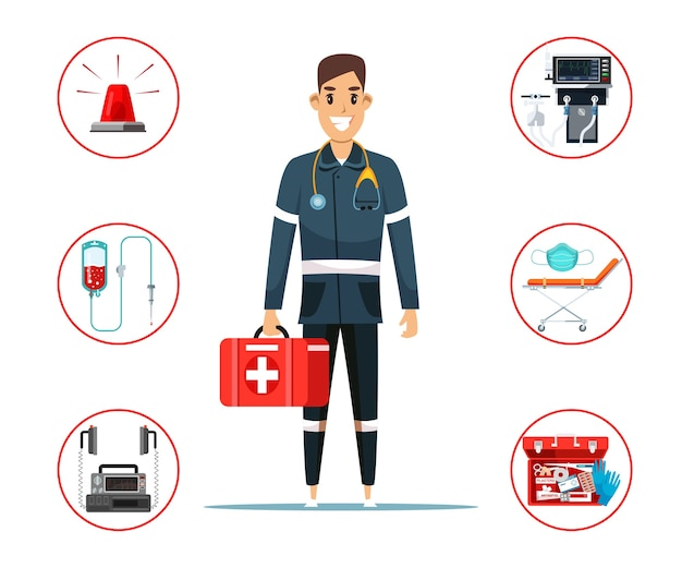 Paramedic cartoon character holding first aid kit box