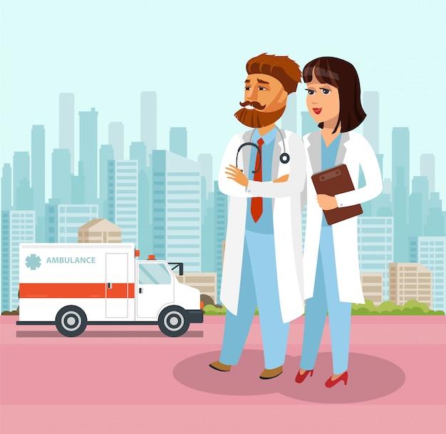 Paramedic cartoon characters walking.