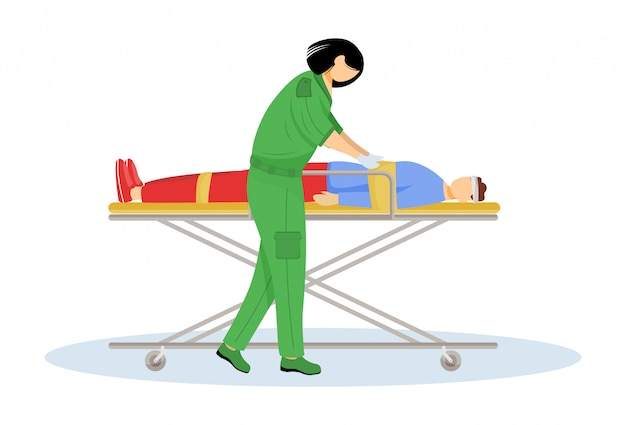 Paramedic giving first aid flat vector illustration. urgent care, resuscitation. emergency rescue worker, medic. emt and patient with trauma on stretcher cartoon character. doctor isolated on white