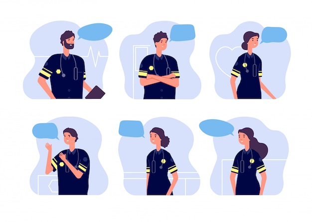 Paramedic. medical team, first aid staff. doctor avatars, modern ambulance workers with stethoscopes and speech bubbles.  nurses set