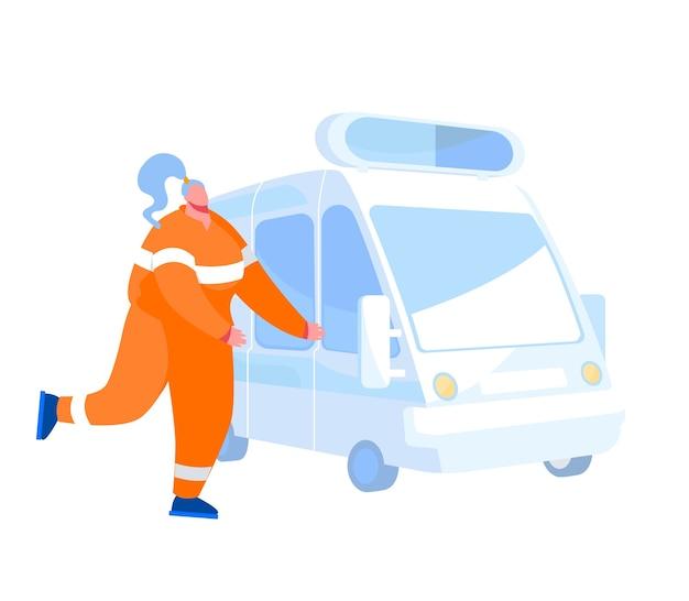 Фельдшер или спасатель женский персонаж в оранжевой форме бежит к машине скорой помощи. медперсонал на работе, медицинская поддержка и помощь больным людям профессия врача. мультфильм