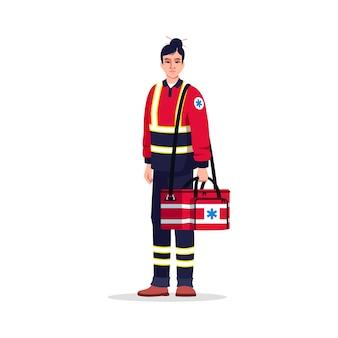 Фельдшер полу-rgb цветная иллюстрация. техник скорой медицинской помощи. врач критической помощи. азиатская женщина, работающая в качестве неотложной медицинской помощи с мультипликационным персонажем медицинской сумки на белом фоне