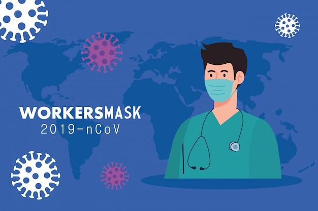 Фельдшер нося медицинскую маску против дизайна иллюстрации 2019 ncov