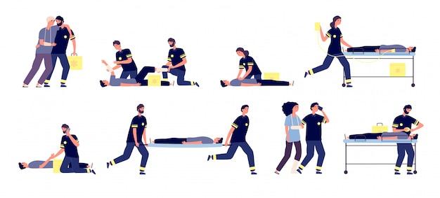 Медработники. скорая медицинская помощь, группа скорой помощи. скорая медицинская помощь, фельдшер и пострадавшие. набор медицинского персонала