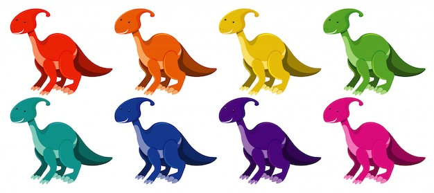 Parasaurolophus in different colors