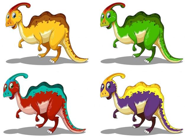 Parasaurolophus in four colors illustration