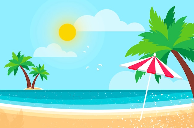 海岸のヤシの木の下の日傘