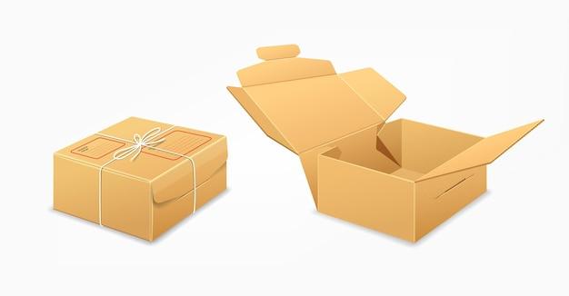 Посылочные коробки, коричневый ящик коллекции дизайн фона, иллюстрация