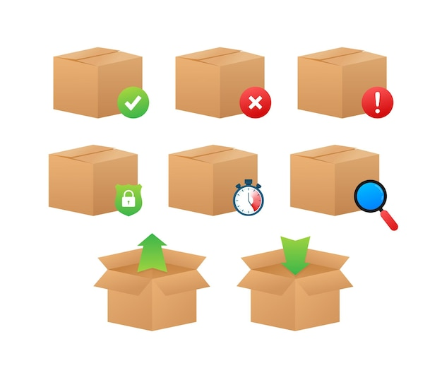 Значок стандартного шага службы доставки parcelcare. страхование и возврат товара. векторная иллюстрация штока