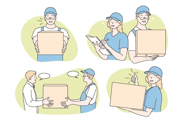 Parcel delivery, courier service set concept