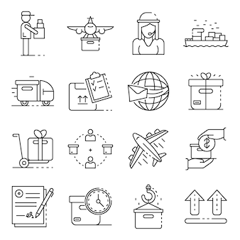 Parcel delivery icons set. outline set of parcel delivery vector icons