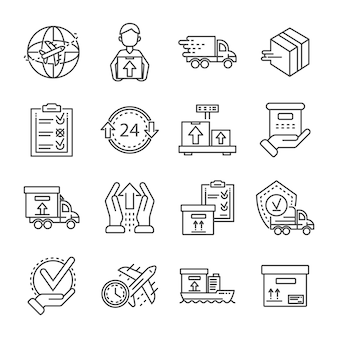 Parcel dellivery icon set. outline set of parcel dellivery vector icons