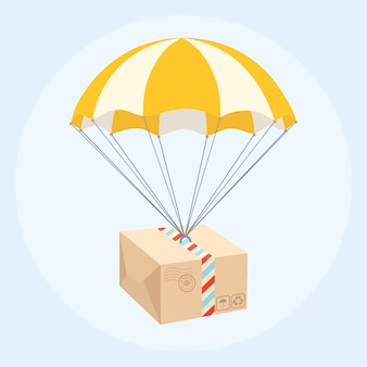 Parcel flying down from sky with parachute. delivery service